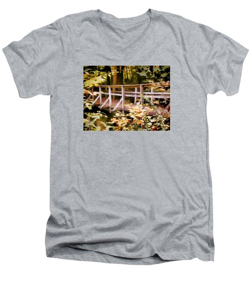 Old Bridge In The Woods In Color Men's V-Neck T-Shirt