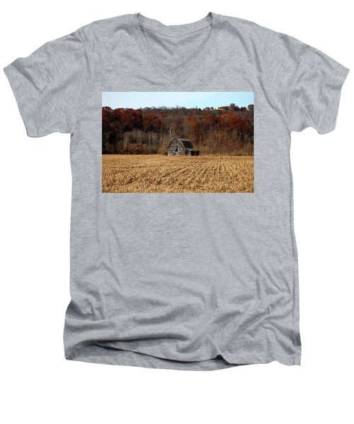 Old Country Barn In Autumn #1 Men's V-Neck T-Shirt by Jeff Severson