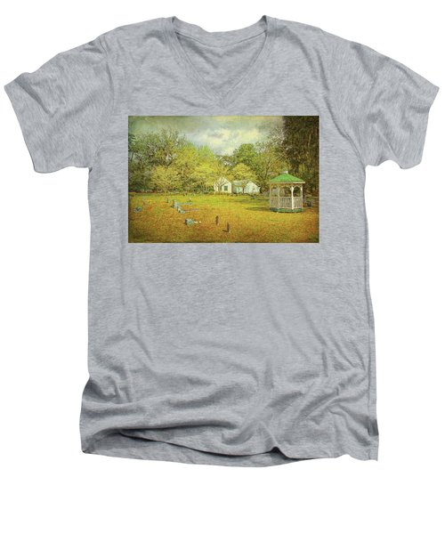 Men's V-Neck T-Shirt featuring the photograph Old Country Church by Lewis Mann