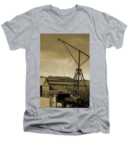 Old Crane And Shed Utah Countryside In Sepia Men's V-Neck T-Shirt