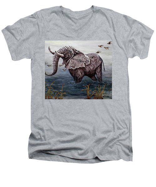 Men's V-Neck T-Shirt featuring the painting Old Elephant by Judy Kirouac