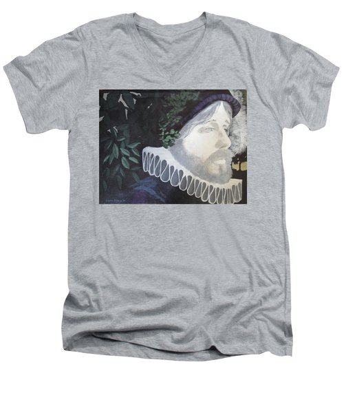Men's V-Neck T-Shirt featuring the painting Old Englishman by Bernard Goodman