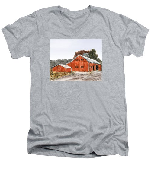 Old Farm In The Country Men's V-Neck T-Shirt by R Kyllo