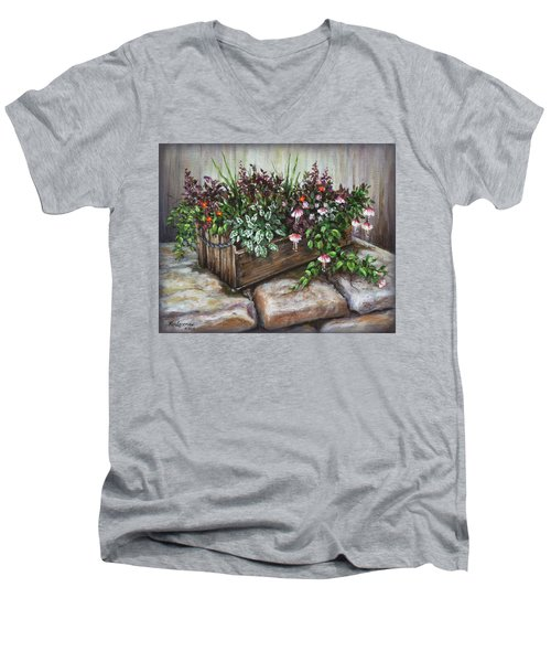 Men's V-Neck T-Shirt featuring the painting Old Flower Box by Kim Lockman