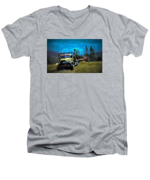 Old Friend Men's V-Neck T-Shirt by John Selmer Sr