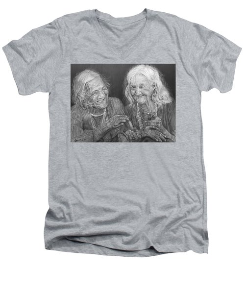 Men's V-Neck T-Shirt featuring the drawing Old Friends, Smokin' And Jokin' by Quwatha Valentine