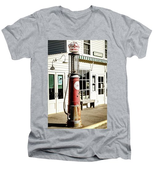 Men's V-Neck T-Shirt featuring the photograph Old Fuel Pump by Alexey Stiop