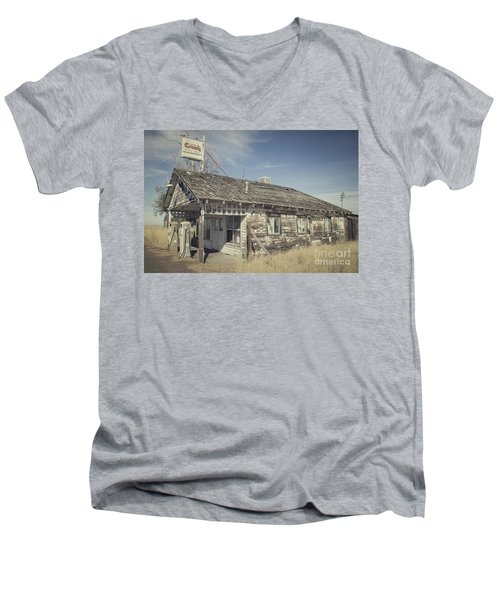 Old Gas Station Men's V-Neck T-Shirt by Robert Bales