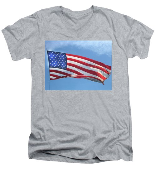 Old Glory Never Fades Men's V-Neck T-Shirt