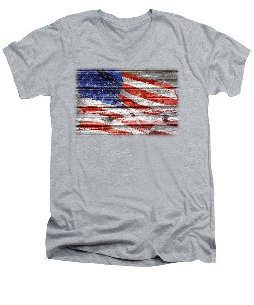 Old Glory Men's V-Neck T-Shirt by Phyllis Denton