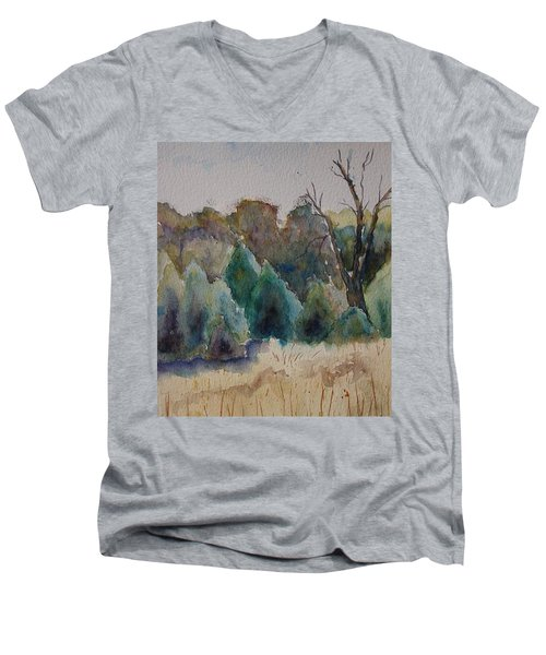 Men's V-Neck T-Shirt featuring the painting Old Growth Forest by Patsy Sharpe