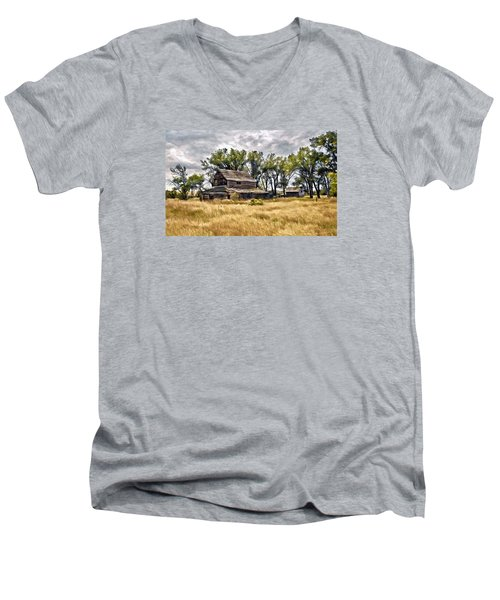 Men's V-Neck T-Shirt featuring the digital art Old House And Barn by James Steele