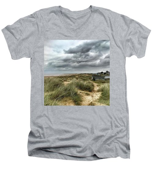 Old Hunstanton Beach, North #norfolk Men's V-Neck T-Shirt