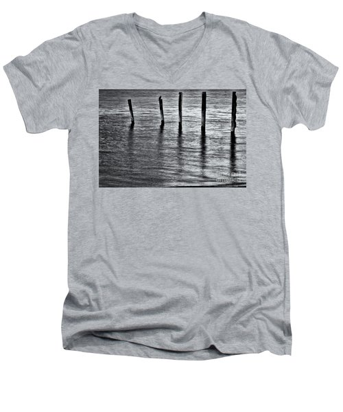 Men's V-Neck T-Shirt featuring the photograph Old Jetty - S by Werner Padarin