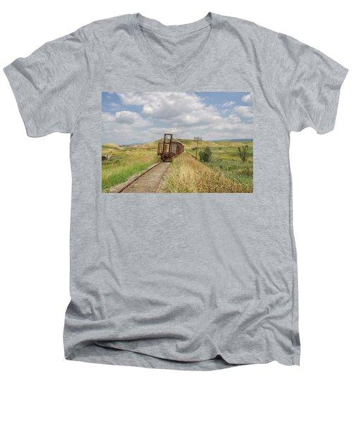 Jezre'el Valley Old Railway Station Men's V-Neck T-Shirt by Uri Baruch