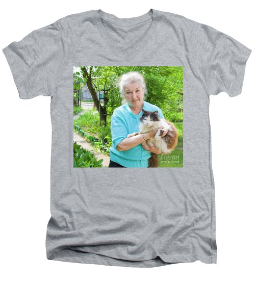 Old Lady With Cat Men's V-Neck T-Shirt by Irina Afonskaya