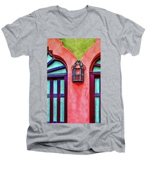 Men's V-Neck T-Shirt featuring the photograph Old Lamp Between Windows by Gary Slawsky