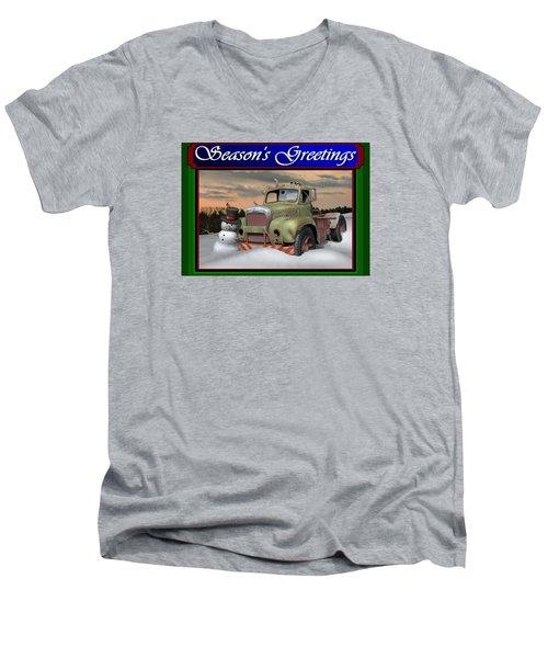Old Mack Christmas Card Men's V-Neck T-Shirt by Stuart Swartz