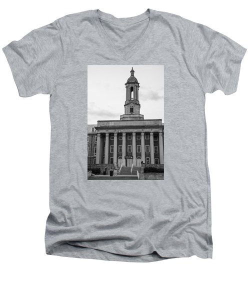 Old Main Penn State Black And White Men's V-Neck T-Shirt by John McGraw