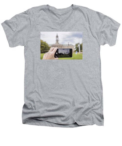 Old Main Through Iphone  Men's V-Neck T-Shirt by John McGraw
