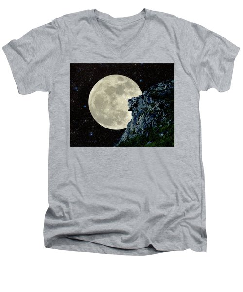 Men's V-Neck T-Shirt featuring the photograph Old Man / Man In The Moon by Larry Landolfi