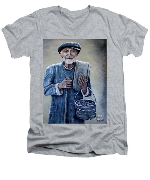 Men's V-Neck T-Shirt featuring the painting Old Man With His Stones by Judy Kirouac