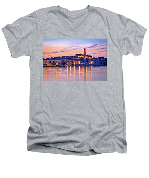 Old Mediterranean Town Of Betina Sunset View Men's V-Neck T-Shirt