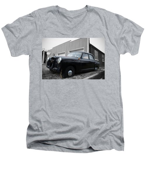 Old Mercedes Sitting At The Shop - Color On Black And White Men's V-Neck T-Shirt by Janice Adomeit
