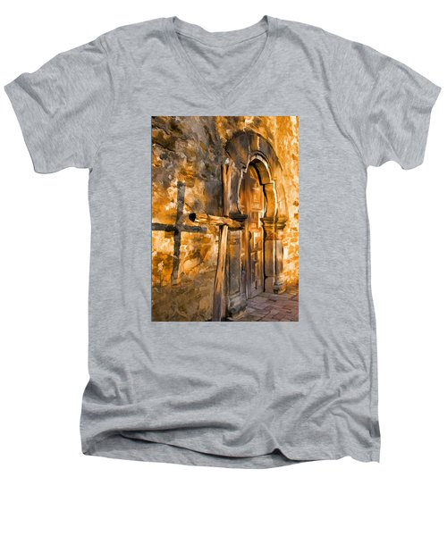 Old Mission Cross Men's V-Neck T-Shirt by Dennis Cox WorldViews