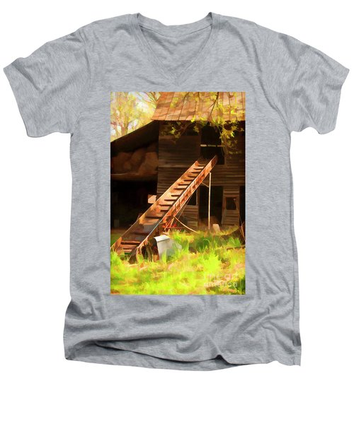 Men's V-Neck T-Shirt featuring the photograph Old North Carolina Barn And Rusty Equipment   by Wilma Birdwell