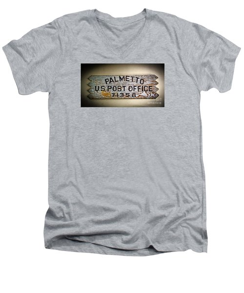 Men's V-Neck T-Shirt featuring the photograph Old Palmetto Sign by Paul Mashburn