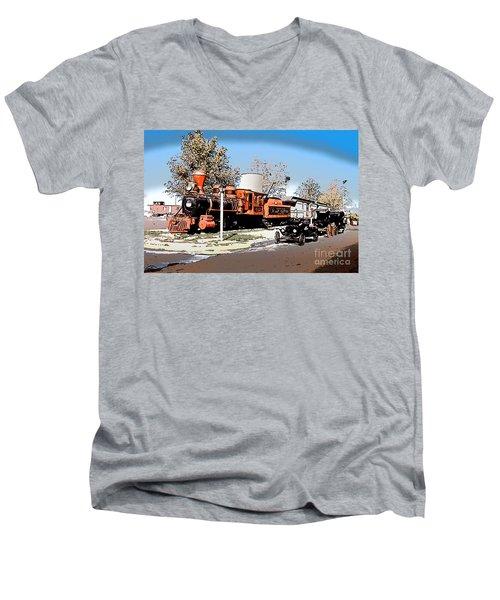 Old Pioneer Train Western Village Las Vegas Men's V-Neck T-Shirt by Wernher Krutein