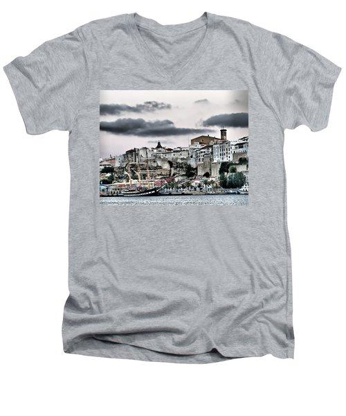 Old Port Mahon And Italian Sail Training Vessel Palinuro Hdr Men's V-Neck T-Shirt