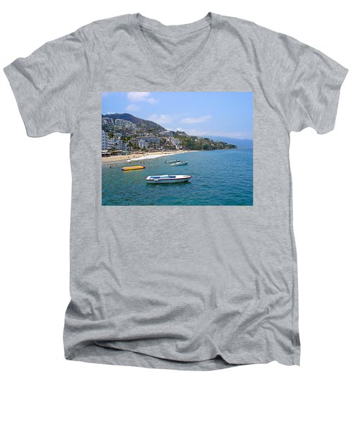 Old Puerto Vallarta  Men's V-Neck T-Shirt