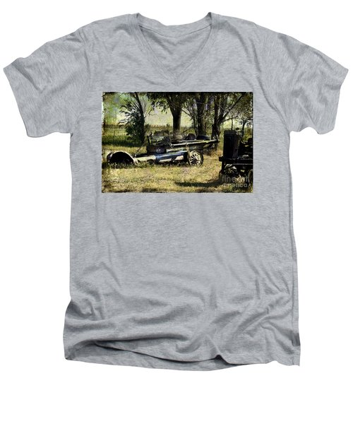 Old Rail Men's V-Neck T-Shirt by Deborah Nakano