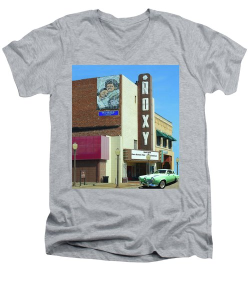 Old Roxy Theater In Muskogee, Oklahoma Men's V-Neck T-Shirt