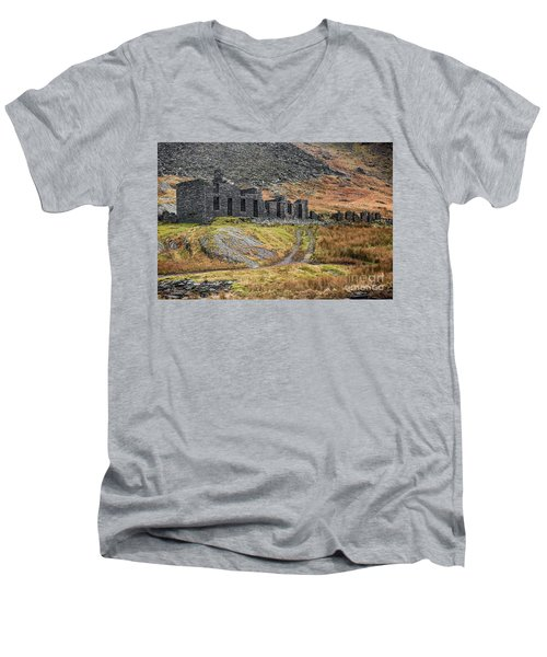 Men's V-Neck T-Shirt featuring the photograph Old Ruin At Cwmorthin by Adrian Evans