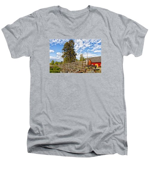 Old Rural Farm Set In A Beautiful Summer Nature Men's V-Neck T-Shirt