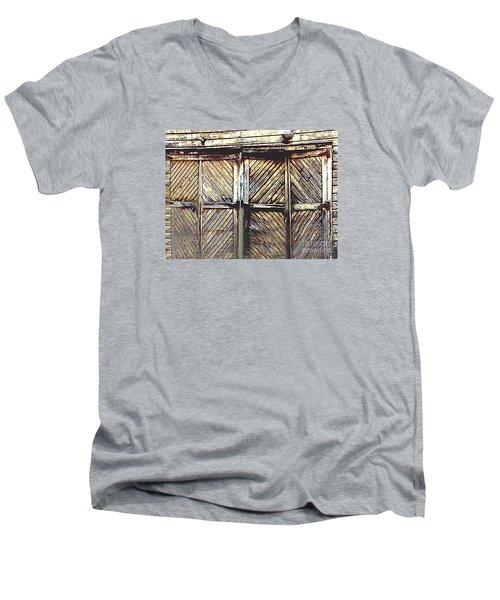 Old Rusted Barn Door Men's V-Neck T-Shirt by Merton Allen