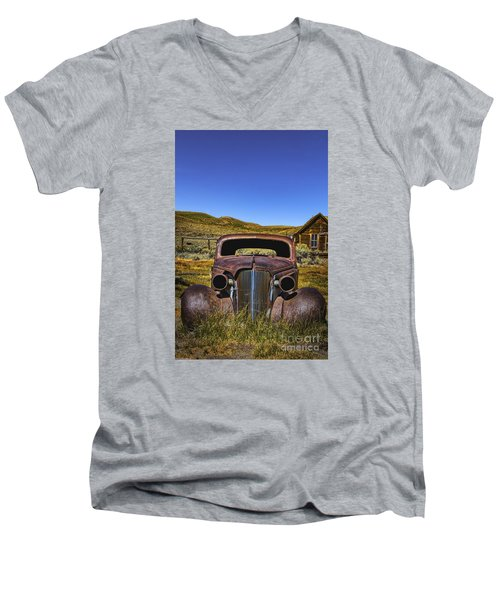 Men's V-Neck T-Shirt featuring the photograph Old Rusty by Mitch Shindelbower