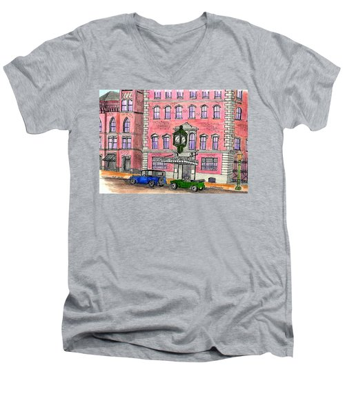 Old Salem Five Savings Bank Men's V-Neck T-Shirt by Paul Meinerth