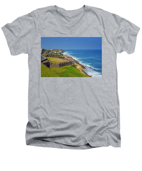 Old San Juan Coastline Men's V-Neck T-Shirt