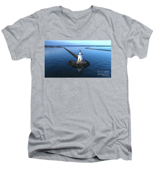 Old Saybrook Outer Lighthouse Men's V-Neck T-Shirt