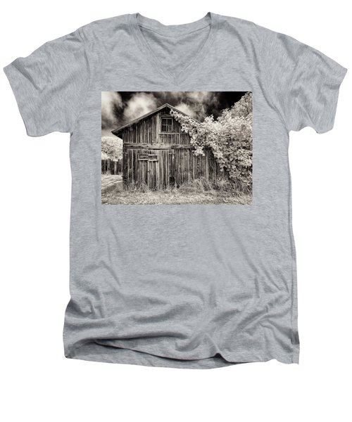 Old Shed In Sepia Men's V-Neck T-Shirt by Greg Nyquist