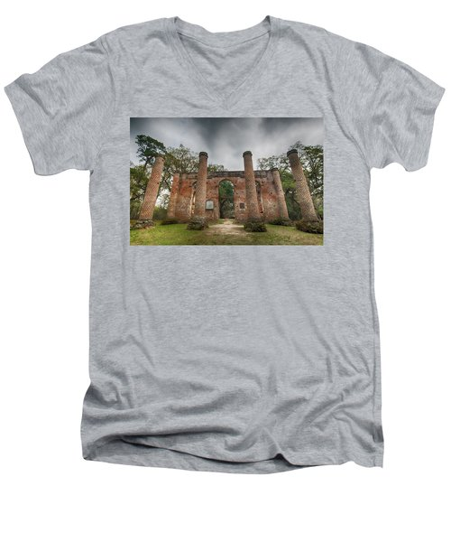 Old Sheldon Church Ruins Men's V-Neck T-Shirt