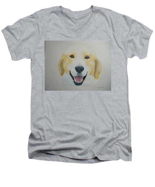 Men's V-Neck T-Shirt featuring the painting Old Shep by Norm Starks