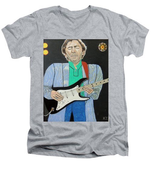 Men's V-Neck T-Shirt featuring the painting Old Slowhand. by Ken Zabel