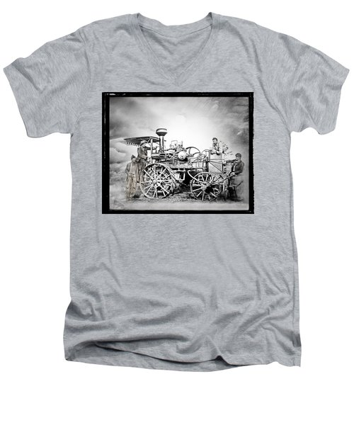 Men's V-Neck T-Shirt featuring the photograph Old Steam Tractor by Mark Allen