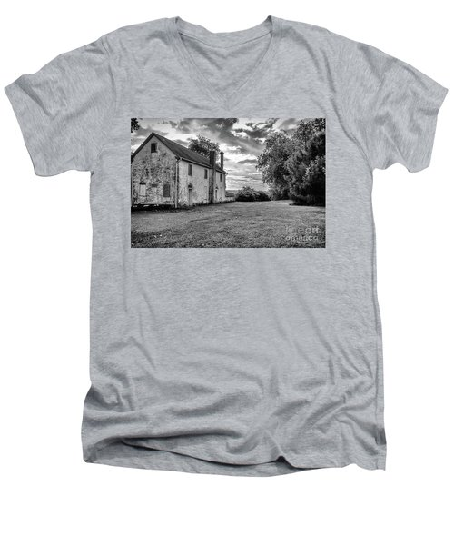 Old Stone House Black And White Men's V-Neck T-Shirt