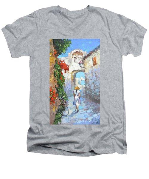 Old Street  Men's V-Neck T-Shirt by Dmitry Spiros